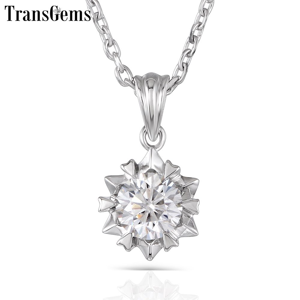 TransGems 1ct 6.5mm H Color Moissanite Pendant Necklace Platinum Plated Silver with Platinum Plated Silver Chain for Women цены