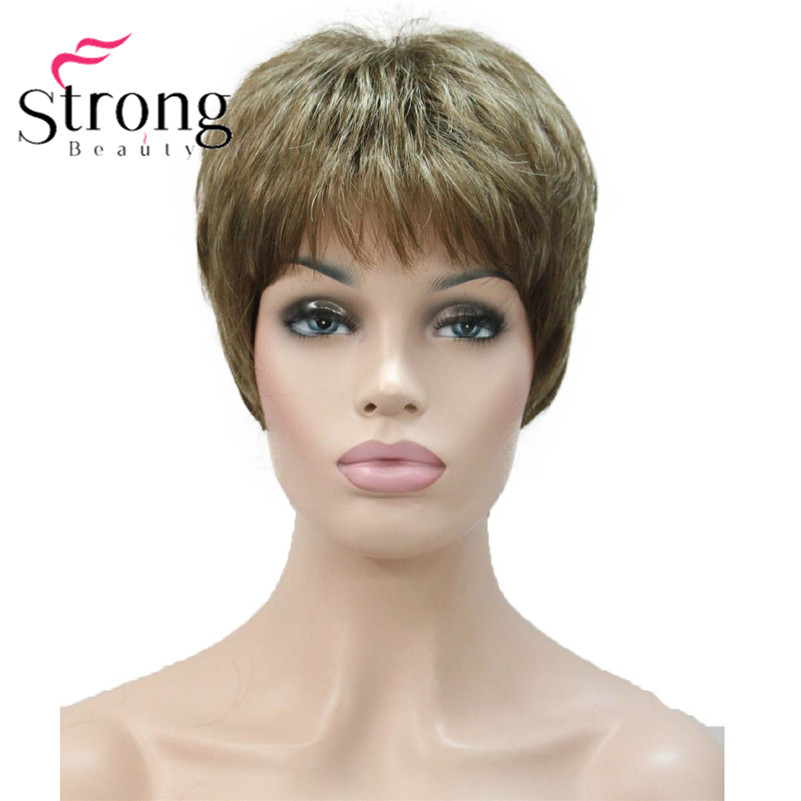 E-1777 Fashion Women`s Wigs Blonde & Light Brown Mix Short Synthetic Full Wig (1)