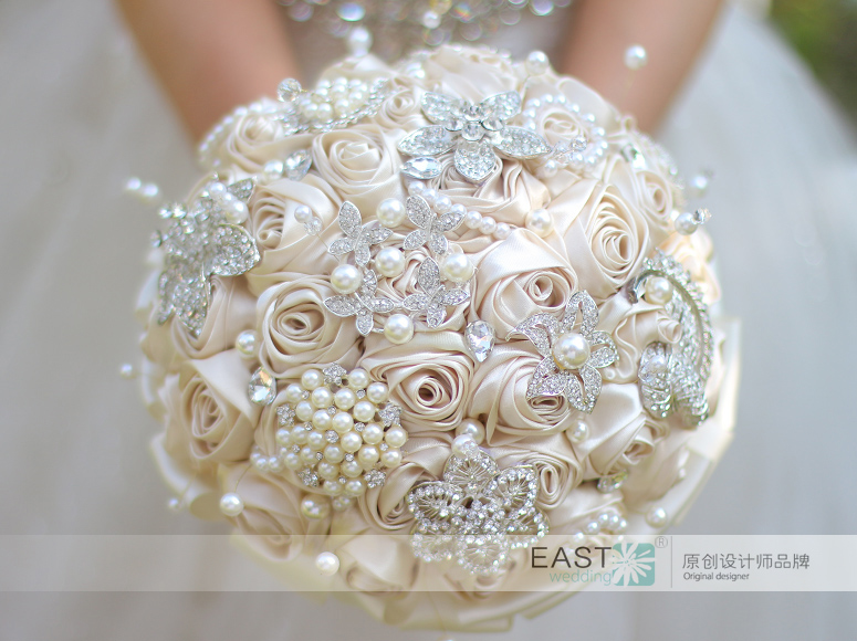 Ivory & champagne satin ribbon rose brooch bouquet Brooch bouquet ...