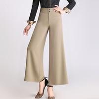 Fashion Plus Size Women Loose Summer Vintage High Waist Wide Leg OL Career Pants