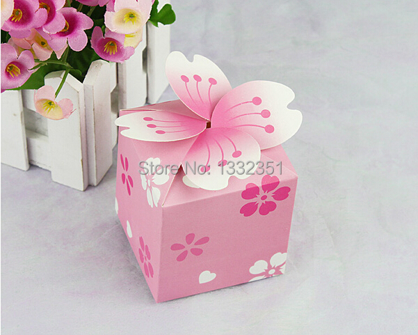 Pink Cherry Blossoms Paper Box Wedding Sweet Love Favour Gift And