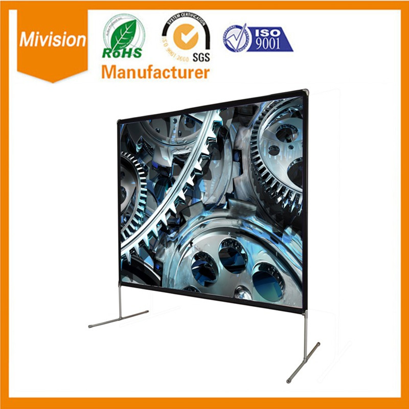 100 4:3 Portable Outdoor Movie Screen for backyard theater with PVC front projection cinema matte white