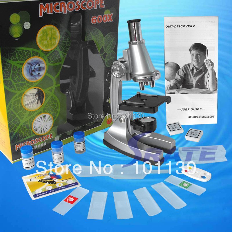 Birthday Gift 100x, 300x, 600x Illuminated Toy Monocular Student Microscope with Refecting Mirror and Lamp for Children  цены