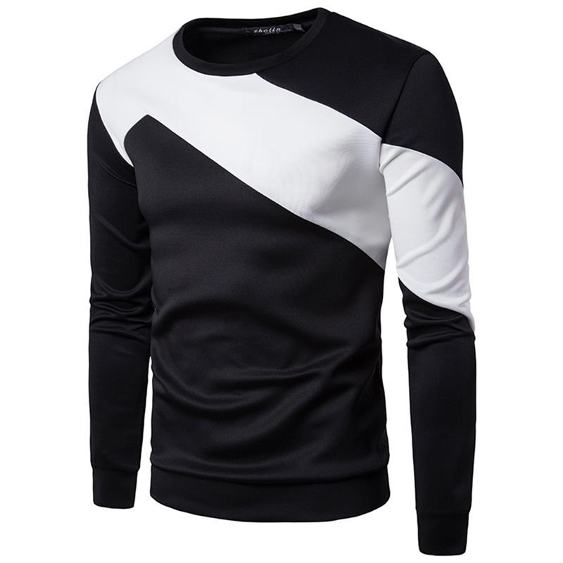ZOGAA Spring and autumn men Sweatshirt Chest Half Sleeve Colorblock Simple Men 39 s Fashion Casual Round Neck Long Sleeve hoodies in Hoodies amp Sweatshirts from Men 39 s Clothing