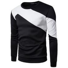 ZOGAA Spring and autumn men Sweatshirt Chest Half Sleeve Colorblock Simple Men's Fashion Casual Round Neck Long Sleeve hoodies round neck letters and wings print long sleeve men s sweatshirt