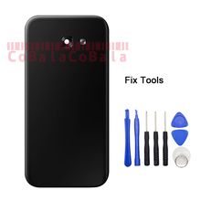 LOVAIN 1Pcs For Samsung Galaxy A3 A5 A7 2017 A320 A520 A720 Back Battery Cover Rear Door Housing Glass+Camera Lens+Adhesive+Tool