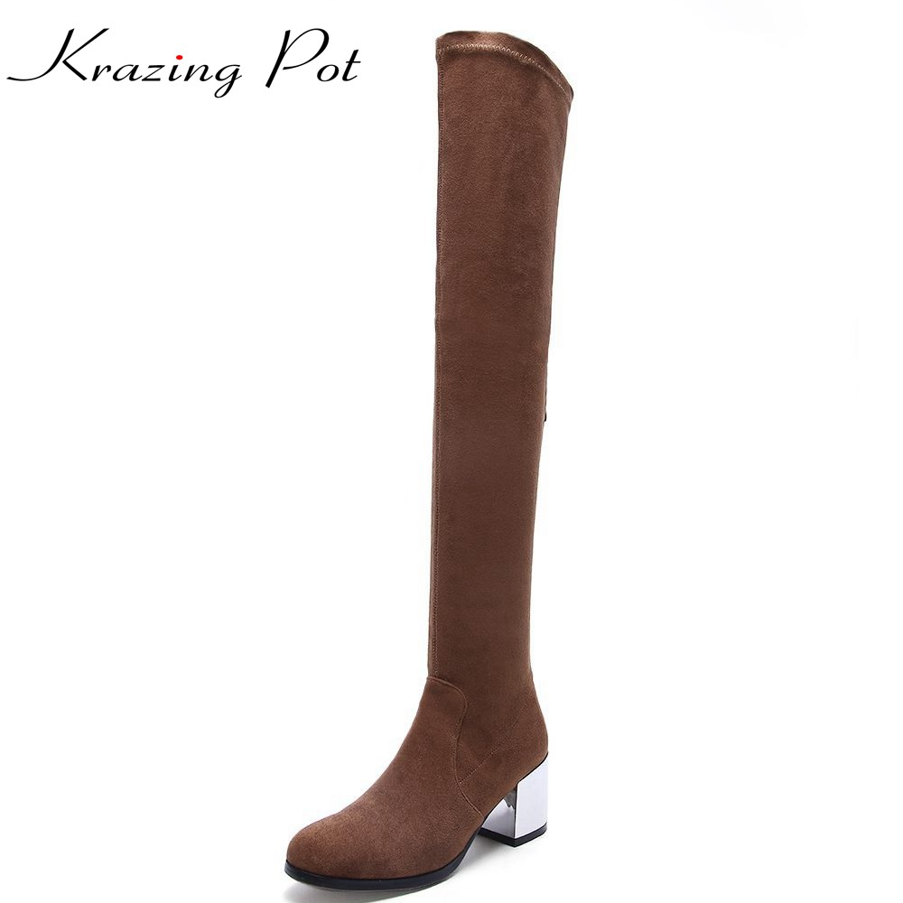 Krazing pot new flannel stretch boots winter keep warm metal high heels leisure long legs beauty fashion over-the-knee boots L78 krazing pot flannel stretch boots winter keep warm wedges high heels leisure long legs beauty fashion over the knee boots l31