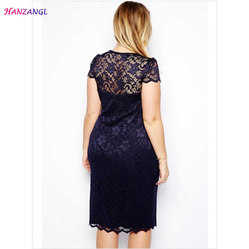 ... HANZANGL Summer Dress Women Elegant Sexy Navy Blue V-Neck Short Sleeve  Lace Dress Ladies ... e83333b61d60