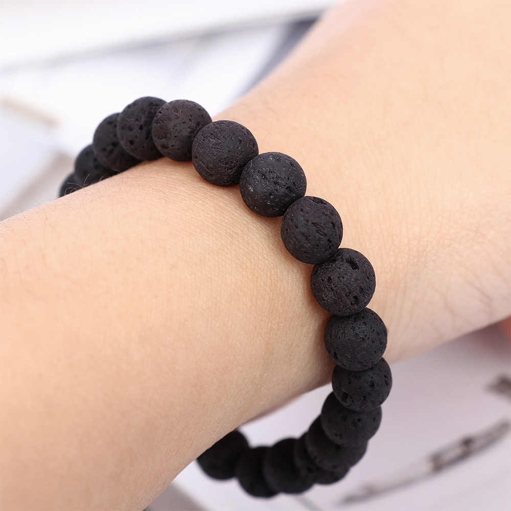 2019 Fashion Jewelry Natural Stone Beaded Men Bracelets Simple Lava Bead Charm Bracelets & Bangles For Men Jewelry Gift