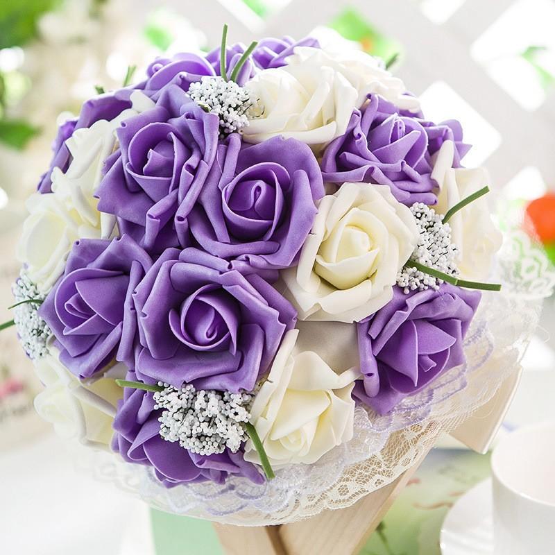 2017 Artificial Rose Wedding Bouquet Bridal Bouquet Bridesmaid bouquet de mariage buques de noivas bruids boeket ramo boda (8)