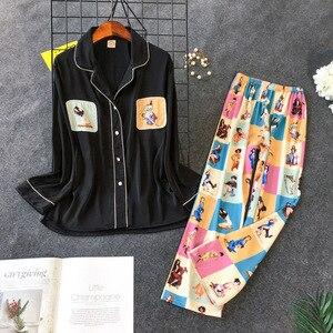 Image 3 - Daeyard frauen Pyjamas Set Silk Shirts Und Hosen 2Pcs Pyjamas Mädchen Nette Nachthemd Nachtwäsche Kontrast Farbe Casual Hause pj Set