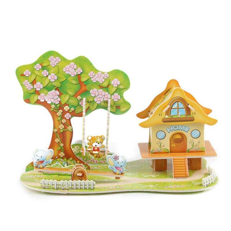 Бумага паззлами раннего обучения Строительная сборка детей украшения дома английские детские игры раннее образование игрушки - Цвет: YJL80925771D