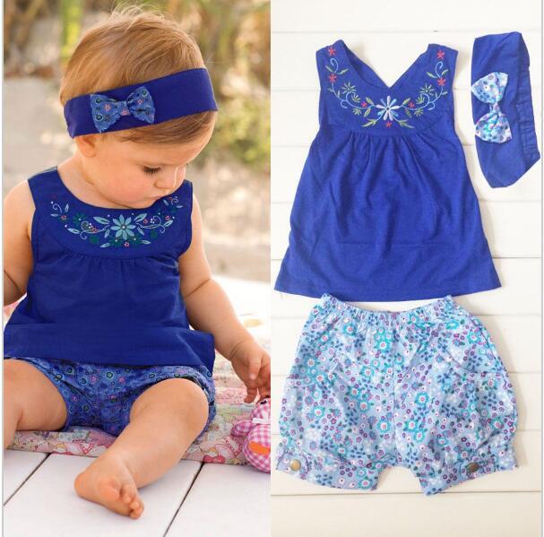 baby cute bebe girl headband set blue Backless vest tops+floral shorts+bowknot headband bebe menino 6 18 month baby girl clothes