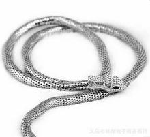 2016 new Hot Sale Fashionable Exaggerated Dual-purpose Gold /Sliver long snake shape necklace Statement lady's necklace jewelry