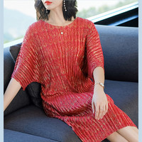 Issey Miyake Summer New Women Elegant Midi Party Dresses Round Neck Loose A Line Dress For Women Red Blue Vestidos