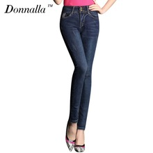 Donnalla Women Jeans Washed Vintage Thin Black Slim Pencil Pants Blue Leggings Denim Skinny Pants High Waist Jeans Female Trouse