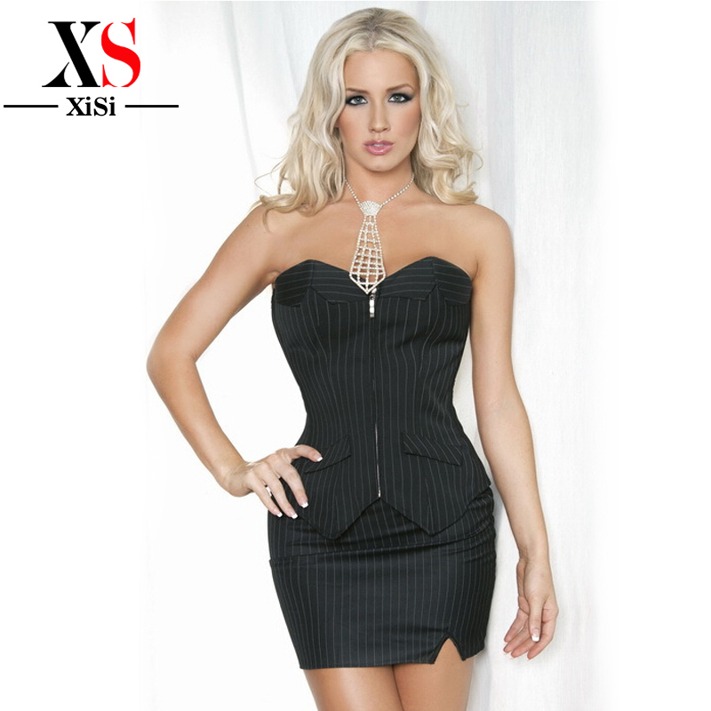 2018 women Control plus size waist trainer <font><b>corset</b></font> dress Bustier cincher black corselet <font><b>xxxl</b></font> Vertical Stripes Overbust <font><b>corset</b></font> image