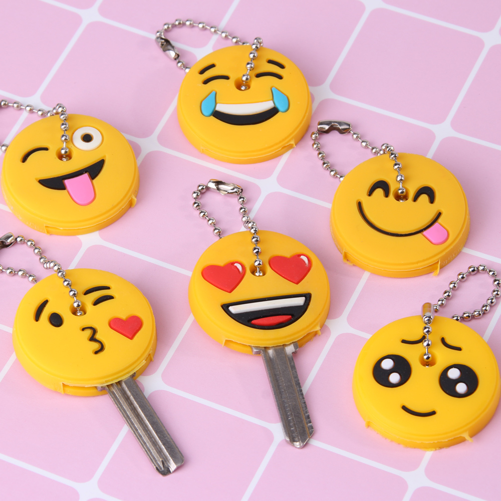 Cute Cartoon Emoticons Smile Key Cover Cap Silicone Amusing Head Yellow Face Stool Keychain Women Porte Clef in Key Chains from Jewelry Accessories