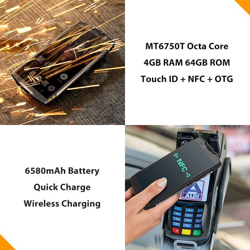 "Blackview BV6800 Pro 5,7 ""Смартфон Android 8,0 IP68 Водонепроницаемый MT6750T Octa Core 4 ГБ 64 ГБ 6580 мАч Беспроводной зарядки мобильного телефона"