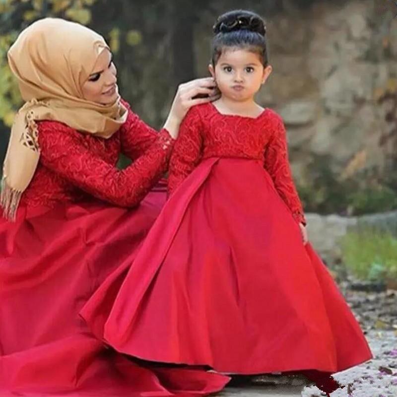2018 Red Long Sleeve Flower Girl Dresses Jewel Lace Satin A Line Kids Formal Party Gown Girls Pageant Dress недорго, оригинальная цена