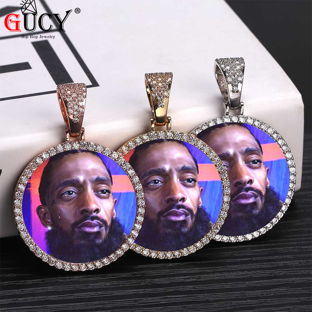 e3f4911df733 GUCY moda de encargo foto redondez sólida detrás colgante y collar con  directo cadena Zircon cúbico hombres Hip hop/RAP Hip hop internacional ...