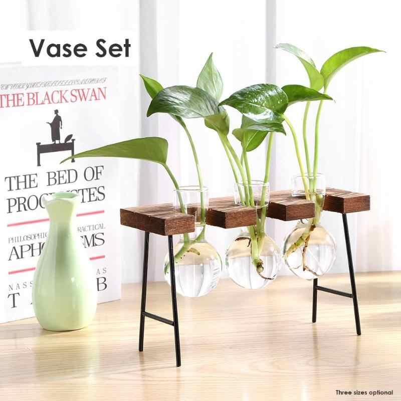 خمر نمط الزجاج سطح المكتب النبات بونساي زهرة زهرية إطار خشبي زهرية النباتات المائية وعاء من الزجاج الشفاف ديكور المنزل