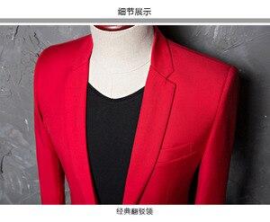 Image 4 - PYJTRL marka erkek rahat kırmızı takım elbise ceket düğün slim fit uzun kollu erkek gömlek Blazer şarkıcılar için sahne kostümleri kostüm Homme