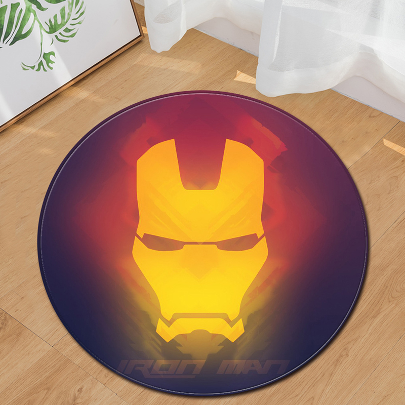 EHOMEBUY New Carpet Iron Man Round Carpet Home Hotel Bedroom Mats Living Room Floor Decoration Foot Pads Carpets Round