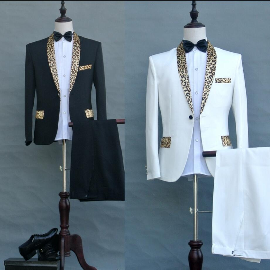 jacket + pants Men New host stage singer costumes Leopard green Shawl collar suits male stage performance wedding formal dress