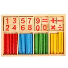 Bebê da Vara Matemática Montessori Brinquedo Crianças Brinquedos Educativos Para Crianças Blocos De Madeira Matemática Contando o Número de Aprendizagem Caixa De Madeira