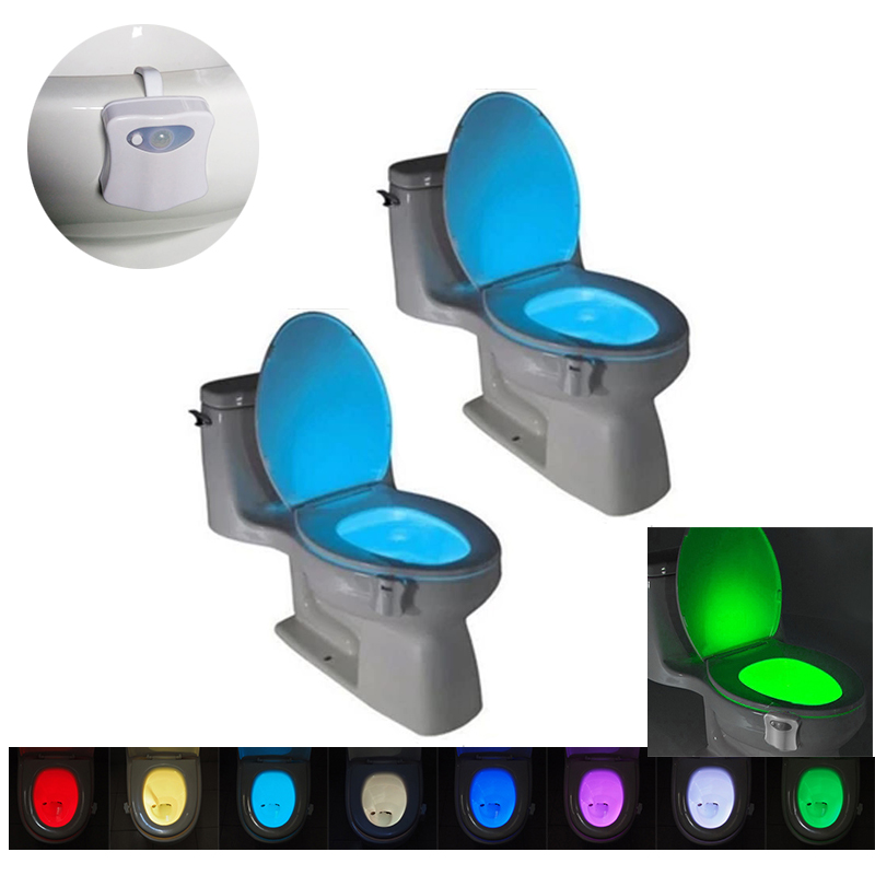 8 Colors LED Toilet Night light Motion Activated Sensor ToiletLight Sensitive Battery-operated Lamp Emergency Light AAA Bathroom