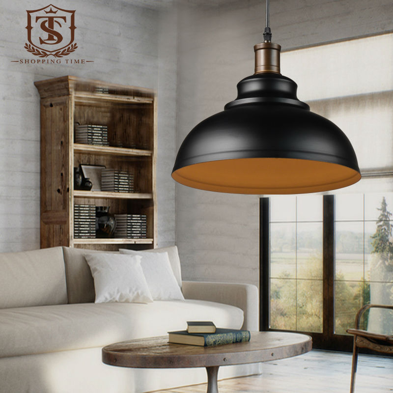 retro iron pendant lamp industrial black and white shade hanging