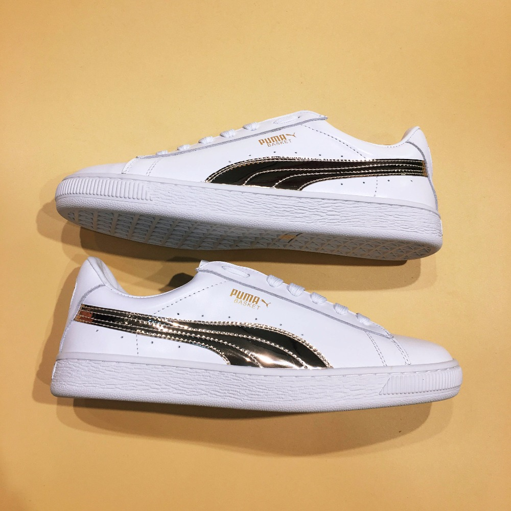 The new Puma Suede Classic Basket LFS classic Cortez series campus style badminton shoes the new puma womens shoes classic high classic star high tongue series white leather laser badminton shoes