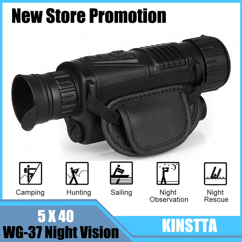KINSTTA Infrared Digital Night Vision Monocular Scope 5x40 For 200Meter,Zoom 5X , IR, 5MP Digital Camera Video In CCD For CSgame monocular night vision infrared digital scope for hunting telescope long range with built in camera shoot photo recording video