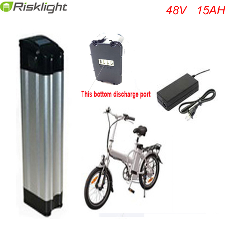 Bottom discharge 48V 15AH electric bike battery 750W BMS 48v bike lithium battery power Aluminum case with charger  and BMS free customs taxes super power 1000w 48v li ion battery pack with 30a bms 48v 15ah lithium battery pack for panasonic cell
