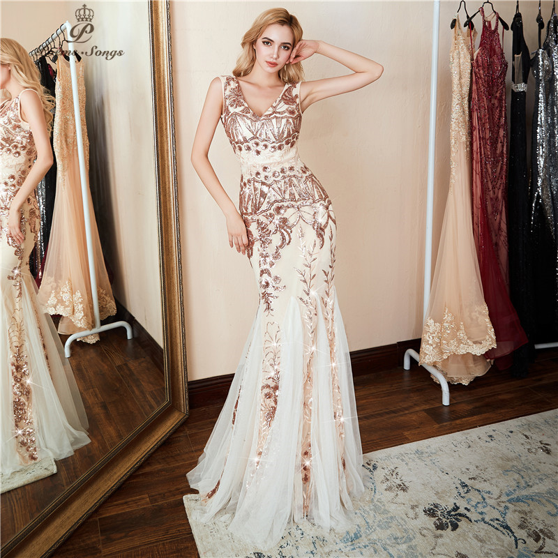 Poems Songs 2019 V-neck Evening Dress Vestido De Festa  Formal Party Dress Luxury Gold Sequin Prom Dress U-back