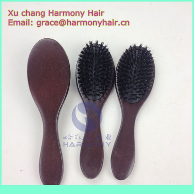 Free Shipping 6pcslot Wooden Brown Color Soft Bristle Hair Brush