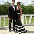 Vestidos de fiesta en blanco y negro vestido de noche por encargo formal dress para las mujeres de la sirena vestidos de baile más el tamaño v party neck dress
