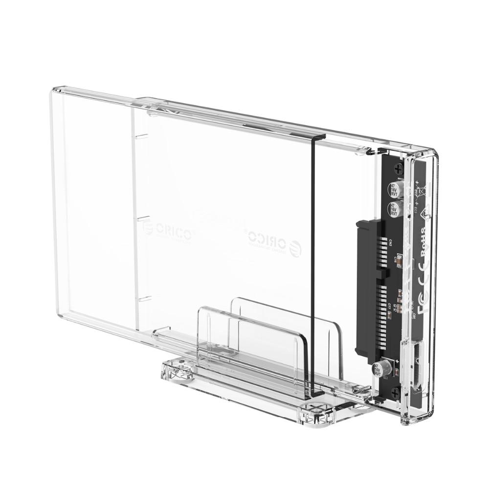 Купить с кэшбэком ORICO HDD Case 2.5 inch SATA to USB 3.0 /Type-C Transparent USB3.0 Hard Drive Enclosure Support UASP Protocol SATA3.0 SSD Case