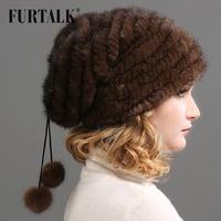 FURTALK Mink Fur Beanie Hat for Women Winter Knitted Real Fur Russian Hat Warm Fur Beret Cap pompom Hats for Female 2019