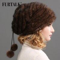 FURTALK hand knitted natural mink fur hat for women Russia winter cap winter beret