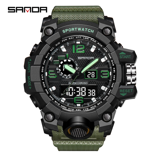 SANDA Luxury Brand Mens Sports Watches Dive Quartz Digital LED Military Watch Me