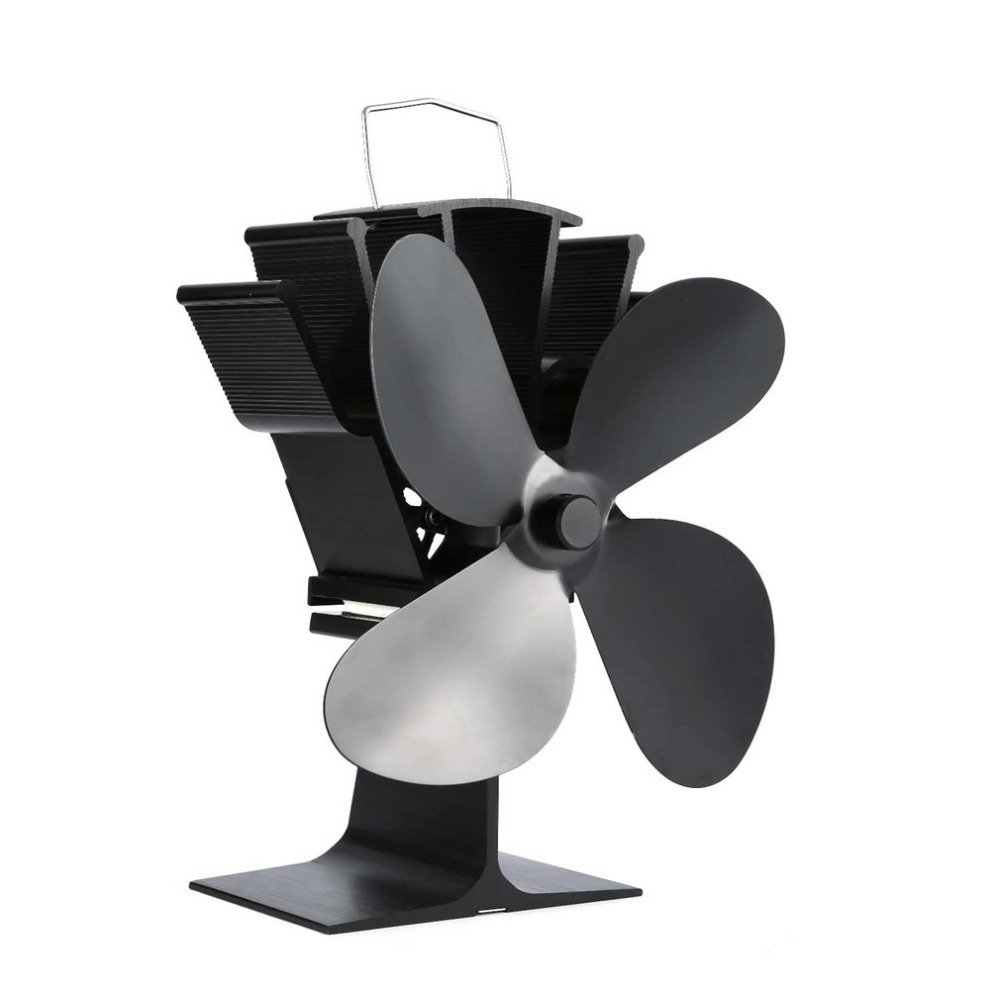 4 Blades Heat Powered Stove Fan Home Silent Heat Powered Stove Fan Ultra Quiet Self-powered Wood Stove Fireplace Cooling Fan