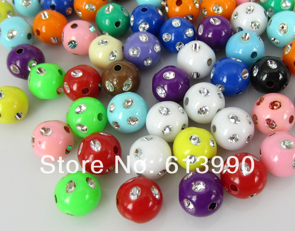 Free Shipping 300Pcs Mixed Acrylic Spacer Beads Bright Dots Round 10.0mm