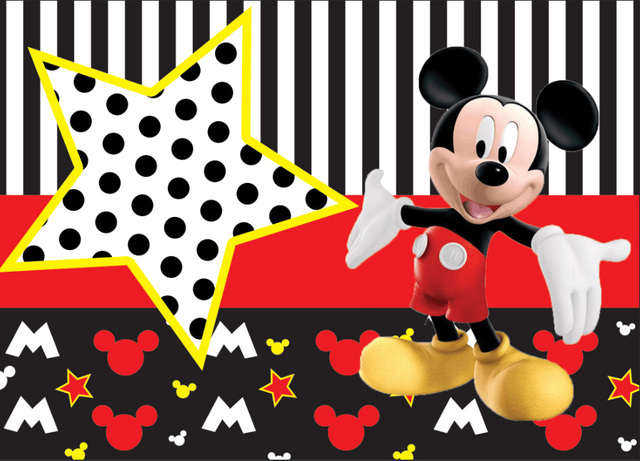 7x5FT Black White Stripes Red Minnie Mickey Star Custom Photo Studio Backdrop Background Vinyl 220cm x 150cm