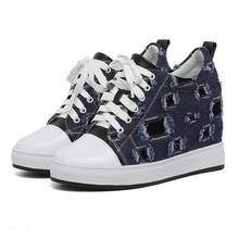 2019 Tennis Shoes Women Cow Leather Wedges High Heel Ankle Boots Lace Up Canvas Party Pumps Punk Trainers Platform Oxfords