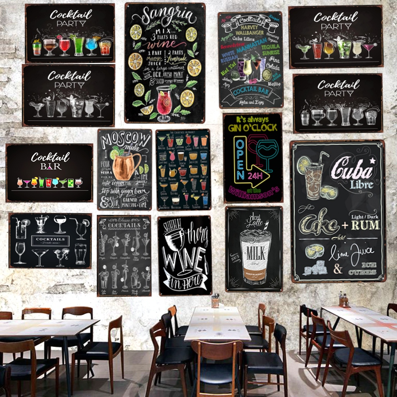 Cocktail RetroTin Bar Signs Metal Plates For Wall Home Art Pub Kitchen Restaurant  Decor Metal Poster A-3499 slipper