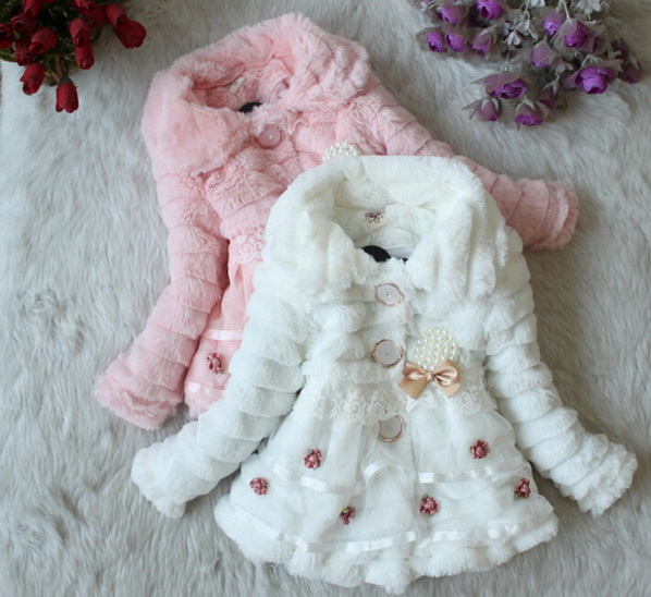 Retail Clothing with bow Autumn Winter wear Clothes baby Children outerwear dress jacket Girls Leopard faux fox fur collar coat