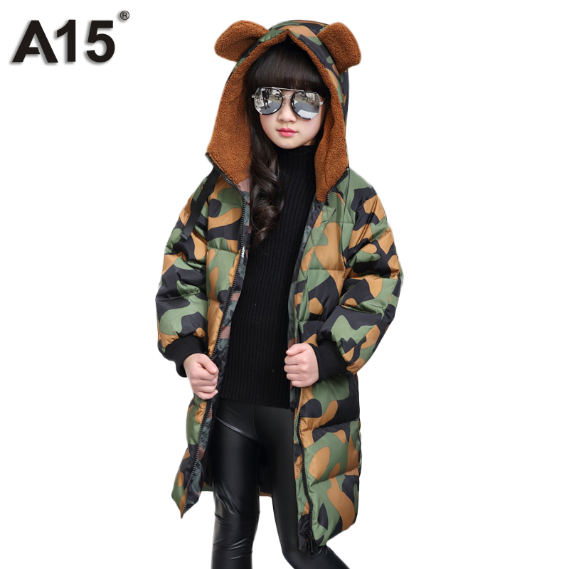A15 Brand Girl Down Coat Winter 2017 Fashion Kids Duck Down Jacket for Girl with Fur Hooded Camouflage Jacket Parka Warm Outwear children duck down winter warm jacket with fur baby boy girl solid overcoat hooded winter jacket kid clothing fashion down coat
