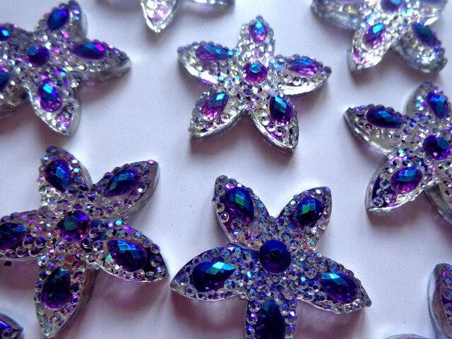 30 30mm start shape Flatback Resin rhinestones purple silver colour No  holes Crystals for dress bags shoes 30pcs 52dfa376cd01